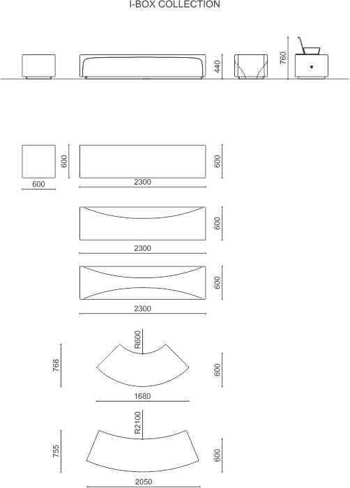 betonové sezení IBOX